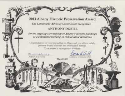 2013 Albany Oregon Historic Preservation Award to Anthony Dostie of Anthony Dostie Construction